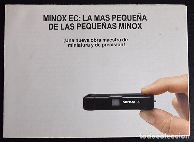 FOLLETO MINOX EC, LA MINOX MÁS PEQUEÑA Y LIGERA. ALEMANIA 1979 (Cámaras Fotográficas - Catálogos, Manuales y Publicidad)