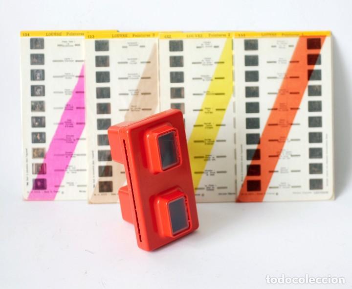 Cámara de fotos: Visor estereoscópico 3D Stereoscope Lestrade Simplex color naranja, con 4 cartas diapositivas - Foto 2 - 122111207