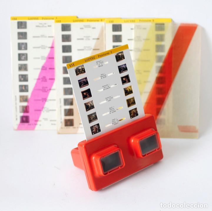 Cámara de fotos: Visor estereoscópico 3D Stereoscope Lestrade Simplex color naranja, con 4 cartas diapositivas - Foto 3 - 122111207