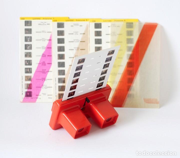 Cámara de fotos: Visor estereoscópico 3D Stereoscope Lestrade Simplex color naranja, con 4 cartas diapositivas - Foto 4 - 122111207