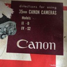 Cámara de fotos: MANUAL INSTRUCCIONES CANON IID - IV S2. Lote 122472471
