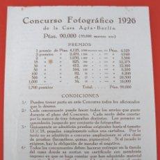 Cámara de fotos: CONCURSO FOTOGRAFICA 1926 DE LA CASA AGFA - BERLIN (UNA HOJA, 12,5X17,5CM APROX). Lote 122870555