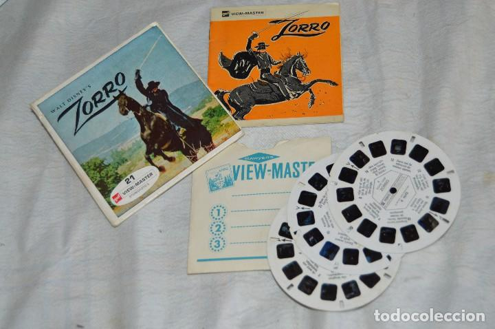 CONJUNTO DE DIAPOSITIVAS VIEW MASTER - ZORRO - AÑOS 50 / 60 - 21 STEREO FOTO'S - ENVÍO 24H (Cámaras Fotográficas - Visores Estereoscópicos)