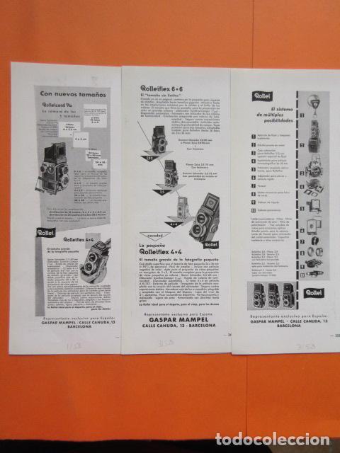 PUBLICIDAD 1958 - COLECCIÓN CÁMARAS - LOTE 3 ANUNCIOS CAMARAS ROLLEI ROLLEIFLEX (Cámaras Fotográficas - Catálogos, Manuales y Publicidad)