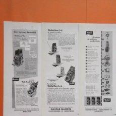 Cámara de fotos: PUBLICIDAD 1958 - COLECCIÓN CÁMARAS - LOTE 3 ANUNCIOS CAMARAS ROLLEI ROLLEIFLEX. Lote 132195602