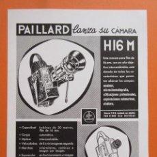 Cámara de fotos: PUBLICIDAD 1959 - COLECCIÓN CÁMARAS - CAMARAS BOLEX PAILLARD REFLEX H 16. Lote 132196950