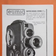 Cámara de fotos: PUBLICIDAD 1959 - COLECCIÓN CÁMARAS - MOTOCAMARA EUMIG C3. Lote 132197010
