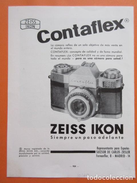 PUBLICIDAD 1960 - COLECCIÓN CÁMARAS - CAMARAS CONTAFLEX SUPER ZEISS IKON (Cámaras Fotográficas - Catálogos, Manuales y Publicidad)