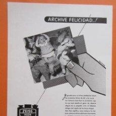 Cámara de fotos: PUBLICIDAD 1958 - COLECCIÓN CÁMARAS - CAMARAS ZEISS IKON . Lote 132198046