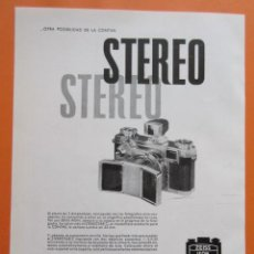 Cámara de fotos: PUBLICIDAD 1958 - COLECCIÓN CÁMARAS - CAMARAS ZEISS IKON STEREO. Lote 132198138