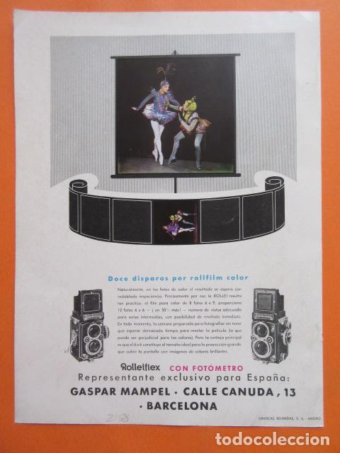 PUBLICIDAD 1958- COLECCIÓN CÁMARAS - ROLLEI ROLLEIFLEX (Cámaras Fotográficas - Catálogos, Manuales y Publicidad)