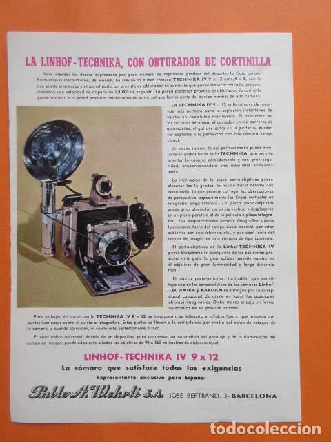PUBLICIDAD 1958 - COLECCIÓN CÁMARAS - LINHOF TECHNIKA CON OBJETIVO CORTINILLA (Cámaras Fotográficas - Catálogos, Manuales y Publicidad)