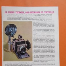 Cámara de fotos: PUBLICIDAD 1958 - COLECCIÓN CÁMARAS - LINHOF TECHNIKA CON OBJETIVO CORTINILLA . Lote 132199658