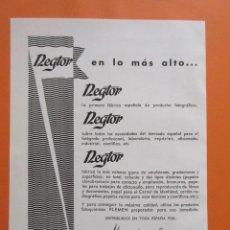 Cámara de fotos: PUBLICIDAD 1959 - COLECCIÓN CÁMARAS - REGTOR PLEMEN. Lote 132200214