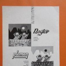 Cámara de fotos: PUBLICIDAD 1959 - COLECCIÓN CÁMARAS - REGTOR PLEMEN. Lote 132200286