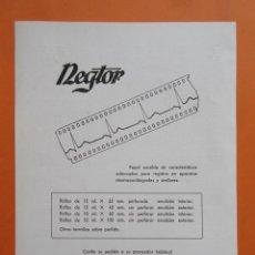 Cámara de fotos: PUBLICIDAD 1958 - COLECCIÓN CÁMARAS - REGTOR PLEMEN. Lote 132200338
