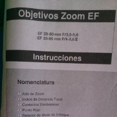 Cámara de fotos: INSTRUCCIONES CANON OBJETIVO EF 28-80 EF 35-80. Lote 134184238