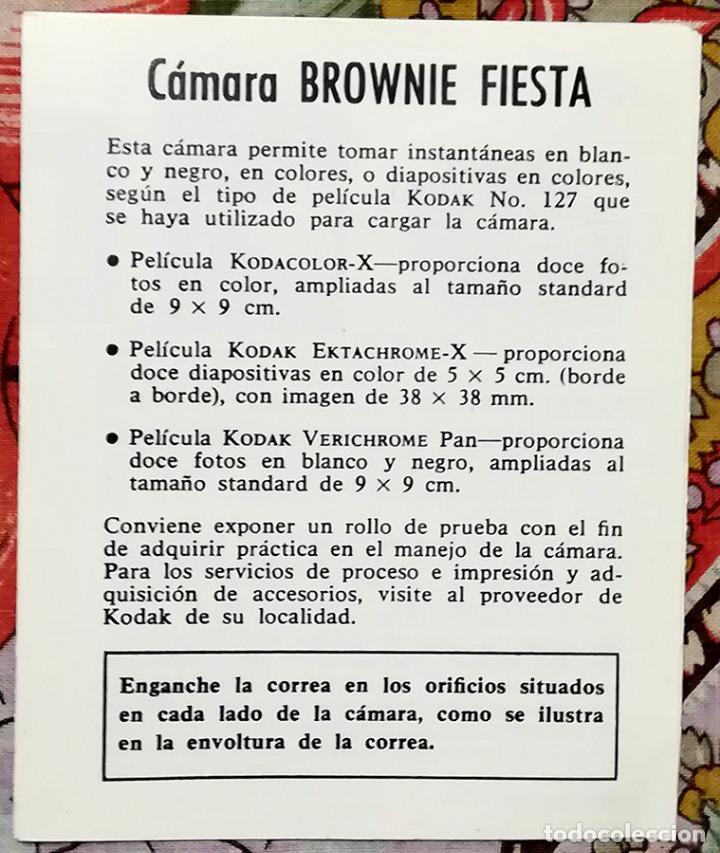 PEQUEÑO MANUAL DE INSTRUCCIONES CÁMARA KODAK BROWNIE FIESTA (Cámaras Fotográficas - Catálogos, Manuales y Publicidad)