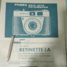Cámara de fotos: RECORTE PRENSA PUBLICITARIO CAMARAS KODAK.NUEVA RETINETTE I A.AÑO 1963. Lote 138278120