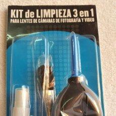 Cámara de fotos: KIT DE LIMPIEZA 3 EN 1 PARA LENTES DE CAMARAS DE FOTOGRAFIA Y VIDEO. Lote 141503162