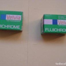 Cámara de fotos: 2 CARRETES FOTOGRÁFICOS COLOR (VELVIA, FUJICHROME, 1990'S) 36 DIAPOSITIVAS. NUEVOS. ORIGINALES. Lote 145489466