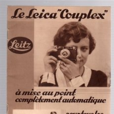 Cámara de fotos: CATALOGO LEICA COUPLEX. LE LEICA COUPLEX À MISE AU POINT COMPLÈTEMENT AUTOMATIQUE. LEITZ. 1932. Lote 148000486