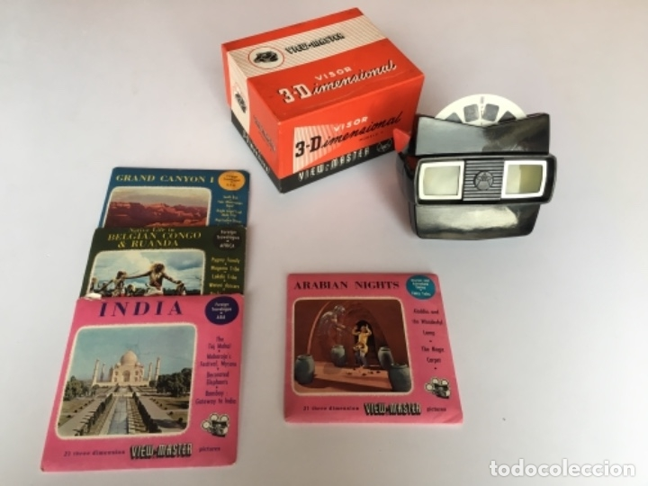 VISOR 3D VIEWMASTER VIEW-MASTER CON CAJA ORIGINAL Y 4 DISCOS (ARABIAN NIGHTS, GRAND CANYON FUNCIONA (Cámaras Fotográficas - Visores Estereoscópicos)