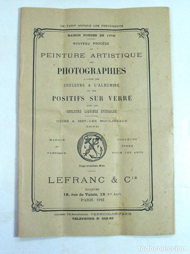 PEINTURE ARTISTIQUE DES PHOTOGRAPHIES. 1912. COLOR PARA ALBUMINAS. FOTOGRAFÍA (Cámaras Fotográficas - Catálogos, Manuales y Publicidad)