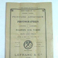 Cámara de fotos: PEINTURE ARTISTIQUE DES PHOTOGRAPHIES. 1912. COLOR PARA ALBUMINAS. FOTOGRAFÍA. Lote 165825006