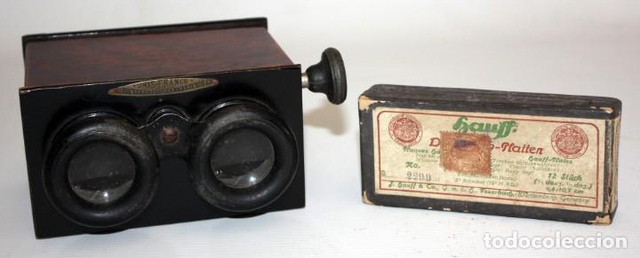 UNIS FRANCE, PARIS (CA.1900) VISOR DE MANO ESTEREOSCOPICO EN BAQUELITA CON 16 CRISTALES (Cámaras Fotográficas - Visores Estereoscópicos)