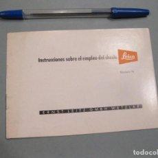 Cámara de fotos: INSTRUCCIONES SOBRE EL EMPLEO DEL CHASIS LEICA. ENRST LEITZ. WETZLAR. AÑOS 50.. Lote 168268364