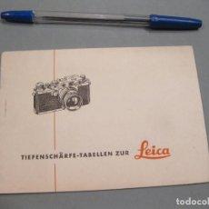 Cámara de fotos: FOLLETO CON TABLAS DE APERTURAS Y DISTANCIAS. CÁMARA LEICA. ENRST LEITZ. WETZLAR. AÑOS 50.. Lote 168268432