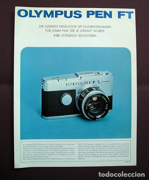 DÍPTICO PROMOCIONAL OLYMPUS PEN FT - 1970 - EN ALEMÁN (Cámaras Fotográficas - Catálogos, Manuales y Publicidad)