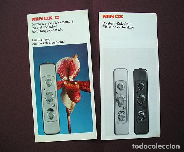2 FOLLETOS PROMOCIONALES: SISTEMA MINOX Y CÁMARA MINOX C - 1970 - EN ALEMÁN (Cámaras Fotográficas - Catálogos, Manuales y Publicidad)