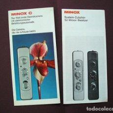 Cámara de fotos: 2 FOLLETOS PROMOCIONALES: SISTEMA MINOX Y CÁMARA MINOX C - 1970 - EN ALEMÁN. Lote 168305568