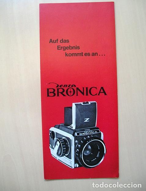 CUADRÍPTICO PROMOCIONAL ZENZA BRONICA - 1970. EN ALEMÁN (Cámaras Fotográficas - Catálogos, Manuales y Publicidad)