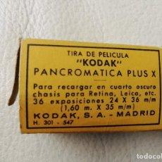 Cámara de fotos: ANTIGUA CAJA DE CARTON VACIA PARA TIRA DE PELICULA KODAK PANCROMATICA PLUS X - FOTOGRAFIA. Lote 169155678
