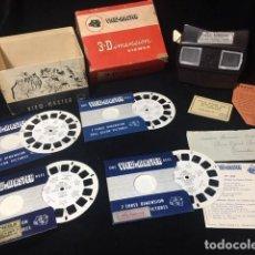 Cámara de fotos: ANTIGUO VISOR DE BAQUELITA VIEW-MASTER 3-DIMENSION ,EN CAJA ORIGINAL 4 DISCOS DE FOTOS. Lote 170064908
