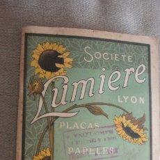 Appareil photos: SOCIETE LUMIERE LYON.PLACAS PAPELES PRODUCTOS FOTOGRAFICOS.FORMULARIO.PRINCIPIOS DEL XX.. Lote 173935814