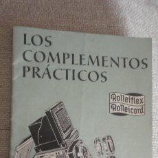 Appareil photos: ANTIGUO FOLLETO.COMPLEMENTOS PRACTICOS.CAMARA FOTOGRAFICA.ROLLEIFLEX ROLLEICORD.. Lote 173985148