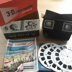 Cámara de fotos: VISOR ANTIGUO VIEW MASTER 3-D BAQUELITA EN CAJA MODEL E 3 DIMENSION VIEWER + 3 DISCOS USA 1942. Lote 175345225