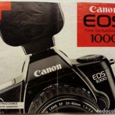 Cámara de fotos: MANUAL DE INSTRUCCIONES - CANON EOS 1000 - EN ESPAÑOL - ORIGINAL, EN PAPEL -. Lote 175433263