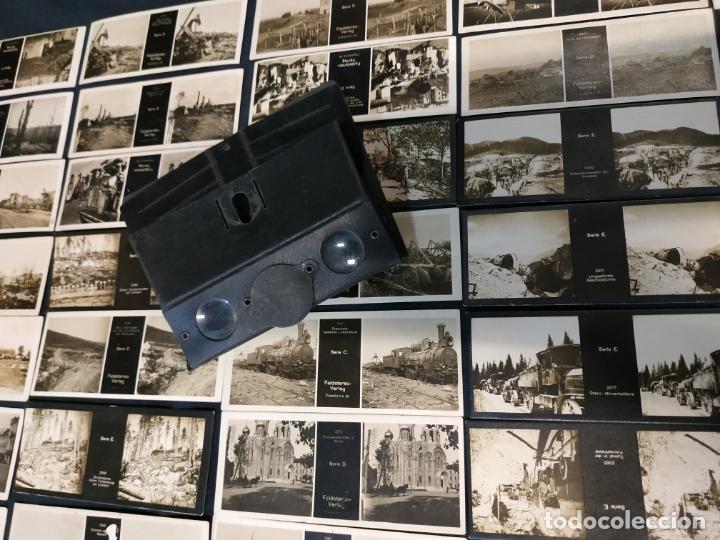 VISOR ESTEREOSCOPICO + 42 IMAGENES / VISTAS, MUCHAS DE ELLAS DE LA 1ª GUERRA MUNDIAL (Cámaras Fotográficas - Visores Estereoscópicos)