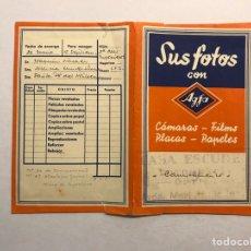 Cámara de fotos: FUNDA PARA FOTOS Y NEGATIVOS AGFA LABORATORIO ESCUDER. VALENCIA (H.1960?). Lote 176595485