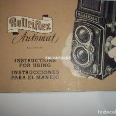 Cámara de fotos: ROLLEIFLEX AUTOMAT. INTRUCCIONES DE USO. ESPAÑOL E INGLES.16 PAGINAS. Lote 179530492