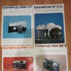 Appareil photos: LOTE DE 8 CATALOGOS DE CAMARAS OLYMPUS. PEN FT, FTL, TRIP 35, PEM EE-2, 35 RC, PEN EES-2 OM-1 Y FTL. Lote 186417863