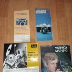 Cámara de fotos: LOTE DE 4 CATALOGOS, KONICA L, KONICA AUTOREFLEX T, KODAK Y YASHICA MAT 124G. Lote 186430118
