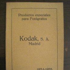 Appareil photos: CATALOGO PUBLICIDAD FOTOGRAFIA-KODAK S.A.-AÑO 1924 1925-VER FOTOS-(V-18.938). Lote 193010280