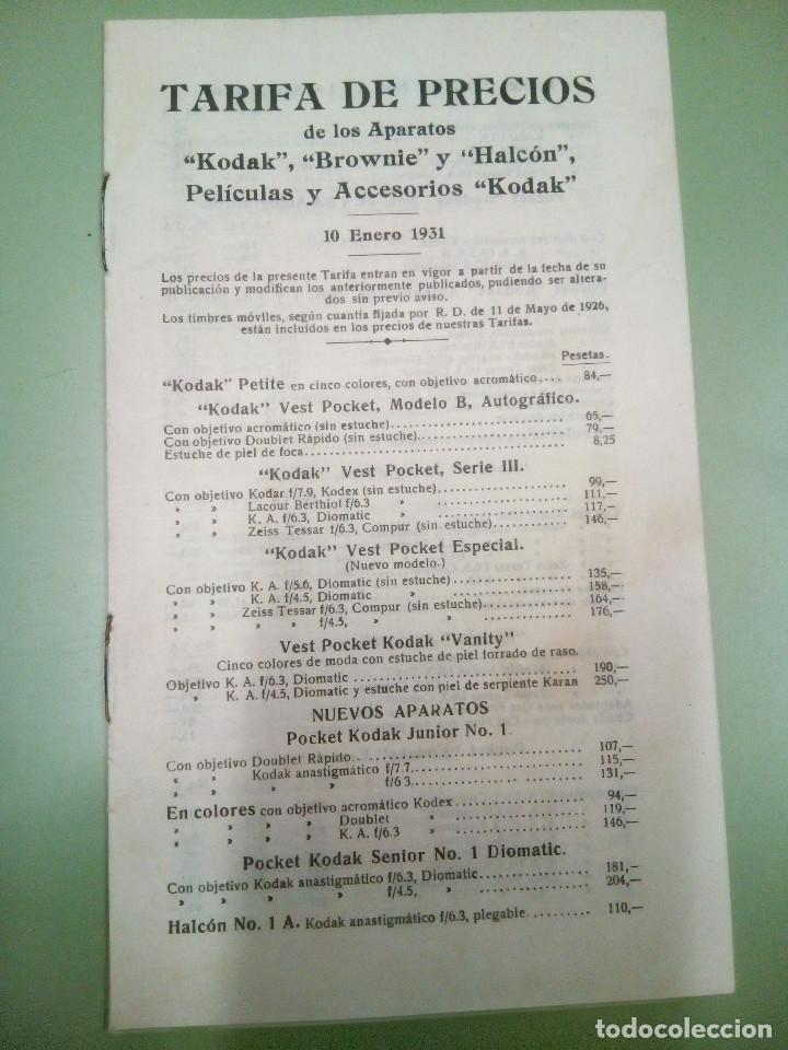 FASICULO TARIFA DE PRECIO DE LOS APARATOS KODAK, BROWNIES Y HALCON, 1931 (Cámaras Fotográficas - Catálogos, Manuales y Publicidad)
