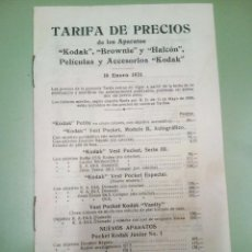 Cámara de fotos: FASICULO TARIFA DE PRECIO DE LOS APARATOS KODAK, BROWNIES Y HALCON, 1931. Lote 194496925